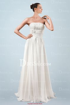 Dreamy Strapless Wedding Dress with Floral Applique Bodice and Draping Skirt