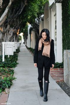 Black pants, coat, and Hunters    Glam Christmas hair beauty share wander wonder jewels jewelry accessories clothing womens blog fashion style classy boho fresh feed stylish glamorous share inspiration ootd outfit stylin fall winter shop shopping