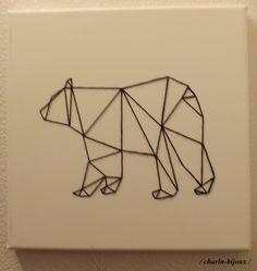 Black geometric bear canvas table Source by mellepanda Geometric Bear, Diy Wall Painting, Bear Drawing, Tape Art, String Art, Decoration, Paper Cutting, Geometry, Sculptures