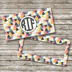 Geometric Monogram License Plate and Frame by ShopEighty4 on Etsy