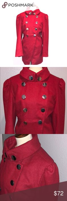 Red pea coat satin lined oversized silver buttons Red pea coat satin lined oversized silver buttons sz XXL never worn new without tags forever Audrey Jackets & Coats Pea Coats