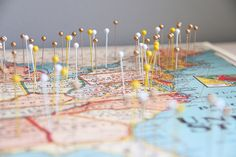 Here's a fun travel idea for world travelers: Make a DIY travel map of all the places you've been! Place pins on the cities you've visited and watch it grow. Check the tutorial to see the three other materials you need to make your own! Dollar Store Crafts, Crafts To Sell, Diy Crafts, Homemade Crafts, Creative Crafts, Mason Jar Crafts, Mason Jar Diy, Vinyl Projects, Craft Projects
