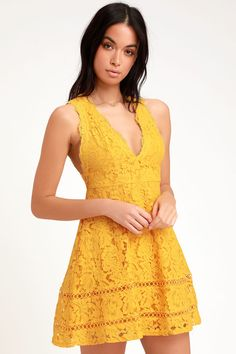 3ab43613d40 Mallory Golden Yellow Lace Skater Dress