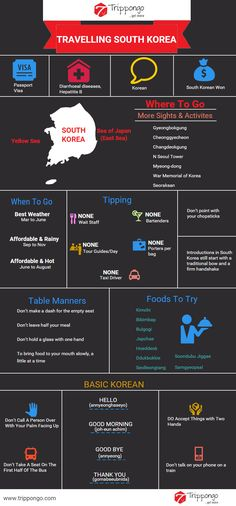Get complete information about sightseeing and tourist destinations in South Korea travelling infographic.