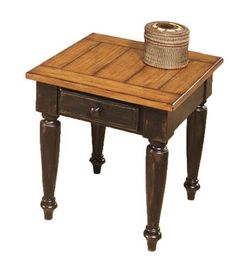 Country Vista Antique Black Oak Solid Wood End Table