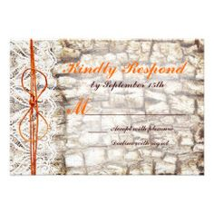 Rustic Country Camo Orange Bow Wedding RSVP Personalized Invitation