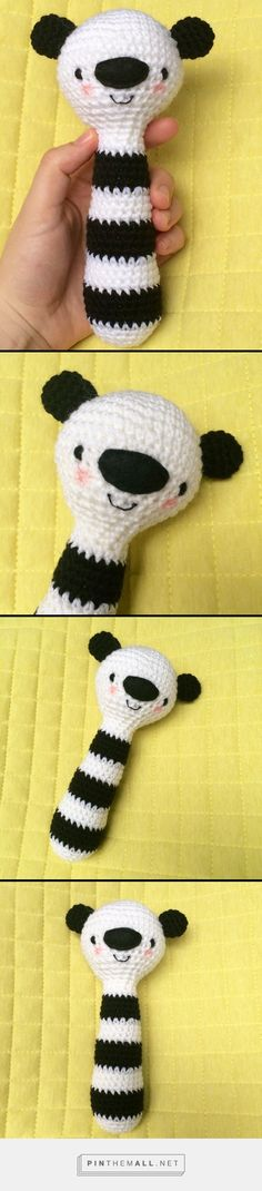 Crochet Panda Rattle Inspired by alittlelovelycompany.nl and amending this ace free pattern on Revelry: http://www.ravelry.com/patterns/library/dieren-rammelaar---animal-rattle Perfect monochrome baby gift. - created via https://pinthemall.net