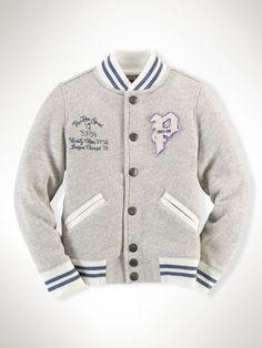 Cotton Terry Varsity Jacket - Girls 2-6X Outerwear & Jackets - RalphLauren.com