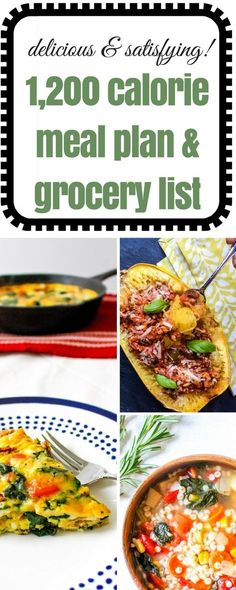 1,200 Calorie Meal Plan & Grocery List via @Ally's Cooking