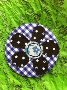Flower applique button badge  purple gingham and by indigostitch, £2.90