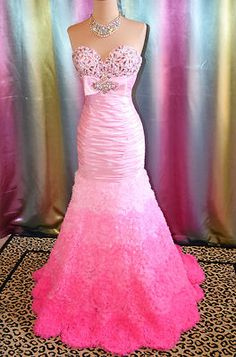 TONY BOWLS PINK EVENING PAGEANT PROM WEDDING FORMAL BALL GALA GOWN DRESS 8