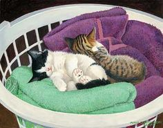 Towel Warmers-Kittens Painting by Persis Clayton Weirs