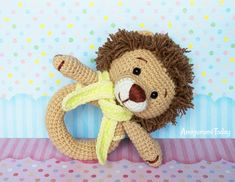 Lion baby rattle amigurumi pattern by Amigurumi Today