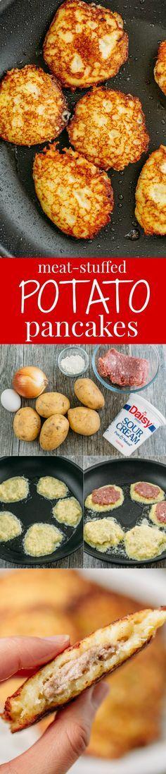 Los draniki son unas tortitas de patata típicas de Rusia. Los del pin están rellenos de carne pero también se pueden hacer sin ella.