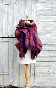 Nuno Felted scarf felt scarf felted ruffle scarfmerino wool