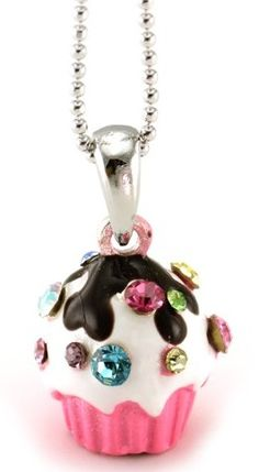 ♔ Pink Chocolate Cupcake Pendant Necklace
