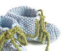Baby boy booties handknit in organic pima cotton shoes with shoe laces for babies, $72 by Renattoni