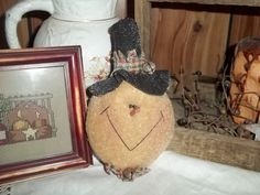 Primitive Snowman Ornament Homespun Jingle Bells by thefarmladyscupboard on Etsy