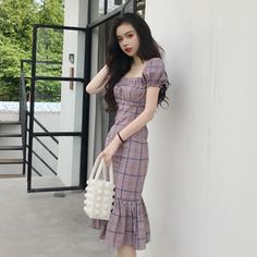 Korean Fashion Dress, Korean Dress, Fashion Dresses, Simple Dresses, Pretty Dresses, Beautiful Dresses, Stylish Summer Outfits, Classy Outfits, Elegant Outfit