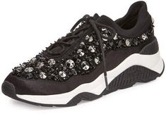 Ash Muse Beaded Mesh Sneaker, Black
