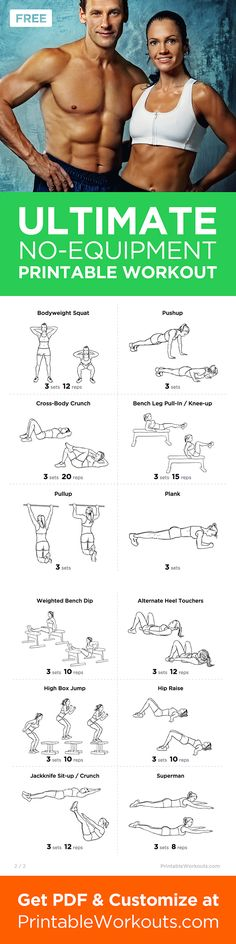 Printable Workout to Customize and Print: Ultimate At-Home No Equipment Printable Workout Routine for Men and Women
