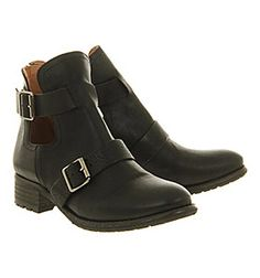 Office United Biker Black Leather - Ankle Boots