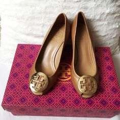 HP Tory Burch Sally 2 Wedges Brand new in box. Color is royal tan/gold. Tumbled leather. Size 5. Tory Burch Shoes Wedges