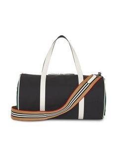 Burberry Medium Tri-tone Nylon and Leather Barrel Bag Barrel Bag, Duffel Bag, Color Blocking, Gym Bag, Shoulder Strap, Medium, Bags, Men, Colour
