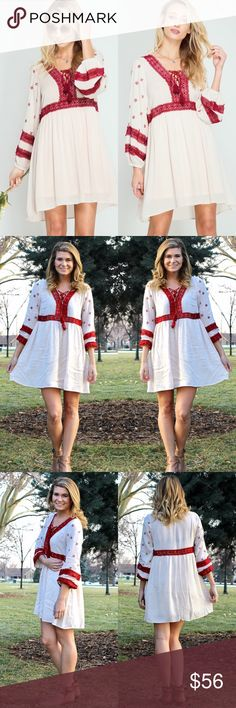 """""""Boho Chic"""" Cream and Burgundy Embroidered Dress This dress is perfect for spring! With cute burgundy embroidered details, this dress will be a staple for festival season.  - Bodice/sleeves unlined, skirt lined. Measurements coming soon. - Dress: 70% Cotton, 30% Polyester - Lining: 100% Polyester - Embroidery: 100% Cotton Lover's Leap Boutique Dresses Mini"""
