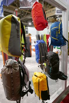 Suspended product/backpack display for Exped at the Outdoor Retailer show.