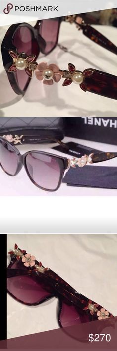 New Chanel sunglasses pearl and gems Gorgeous brand new sunglasses with case and box CHANEL Accessories Sunglasses