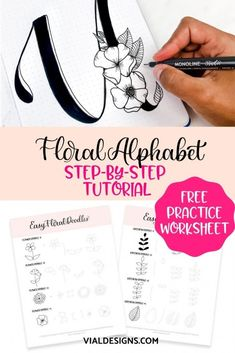 Easy step-by-step hand lettering tutorial to create beautiful Floral alphabet letters | Floral Alphabet classic and elegant | Floral Alphabet Letter Initials | Floral Alphabet Embroidery Patterns |Flower doodles #floralalphabeth #vialdesigns #handletteringtutorial #flower doodles