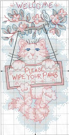 CAT AND POPPIES # 1 CROSS STITCH CHART