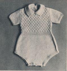 Vintage Retro Infant Baby Toddler Diamond Design ROMPER SUIT - Knitting Pattern - PDF Tutorial This romper suit is knitted in a very Baby Knitting Patterns, Baby Clothes Patterns, Knitting For Kids, Baby Patterns, Baby Boy Dress, Baby Boy Or Girl, Baby Pants, Romper Suit, Romper Pattern