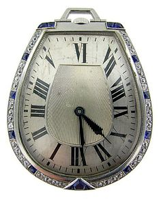 French Art Deco Platinum Diamond and Sapphire Pocket Watch, made in Paris 1920's.