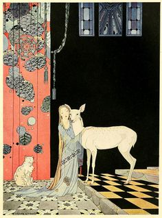 Virginia Frances Sterrett (American 1900–1931) managed to complete just three books in her short life, all of them commissioned by the Penn Publishing Company: Old French Fairy Tales (1920), Tanglewood Tales (1921), and Arabian Nights (1928). She was diagnosed with tuberculosis at the age of 19, around the time she received that first commission.""