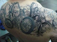 Biker's full shoulder tattoo