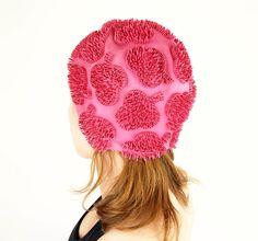 Vintage Pink Swim Cap with Raised Clover Pattern by by denisebrain