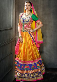 Yellow Net Resham Work Wedding Lehenga Choli- loved & pinned by www.omved.com