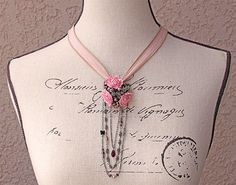Vintage Button Crystal Necklace Brooch Romantic by PaulasFavorites, $135.00