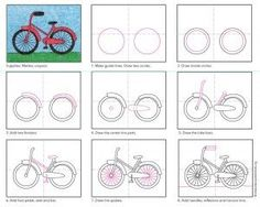 How to Draw a Bike · Art Projects for Kids Drawing Tutorials For Kids, Drawing For Kids, Art Tutorials, Art For Kids, Drawing Lessons, Art Lessons, Directed Drawing, Bicycle Art, Bicycle Design