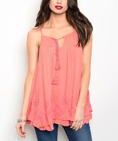 Take a look at this Coral Floral Embroidery Swing Tank today!