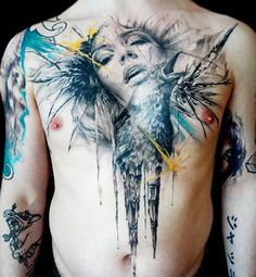 Jak Connolly, from the UK  -- Master of surrealism and realism tattoos --  Awesome crow abstracted within a woman's portrait, chest tattoo. Bird. Wings.