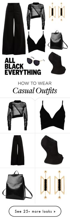 """Casually Chic"" by louiseryan-1 on Polyvore featuring Helmut Lang, Bella Freud, Boohoo, Natama Design, Giuseppe Zanotti and allblackoutfit"