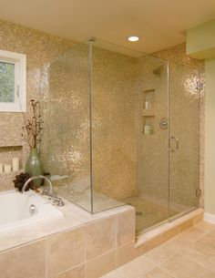 23 All Time Popular Bathroom Design Ideas - love the wall of opalescent tiles