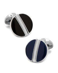 Reversible Enamel Cuff Links, black - Cufflinks
