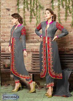 Indian-Pakistanisch-Halb-Genaeht-Bollywood-Salwar-Kameez-Designer-Kleid-Anzug