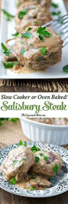 This Salisbury Steak is classic comfort food! The healthy recipe can be prepared in the slow cooker or baked in the oven for an easy dinner on busy nights!