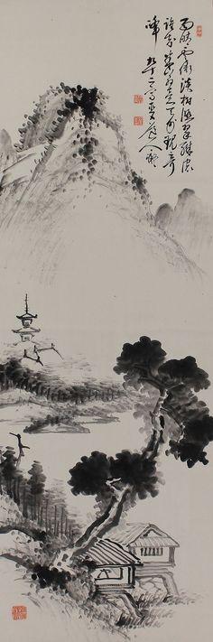 Inkwash Landscape by Tanomura Chokunyu(1814-1907). Japanese hanging scroll Kakejiku.