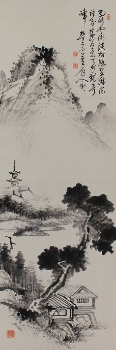 Inkwash Landscape by Tanomura Chokunyu(1814-1907). Japanese hanging scroll Kakejiku.